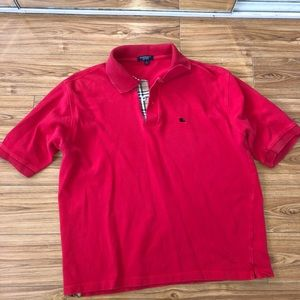 Burberry Brit Mens Red Polo Size L price FIRM